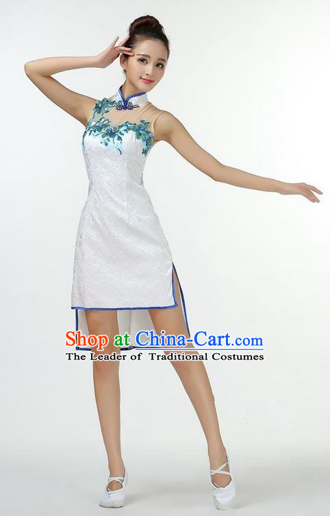 Traditional Modern Dancing Costume, Chinese Style Opening Classic Chorus Singing Group Dance Cheongsam Dress, Modern Dance Classic Ballet Dance Latin Dance Dress for Women