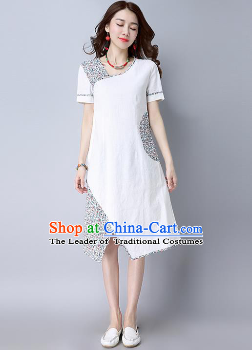 Traditional Ancient Chinese National Costume, Elegant Hanfu Printing Dress, China National Minority Tang Suit Cheongsam Upper Outer Garment White Dress Clothing for Women