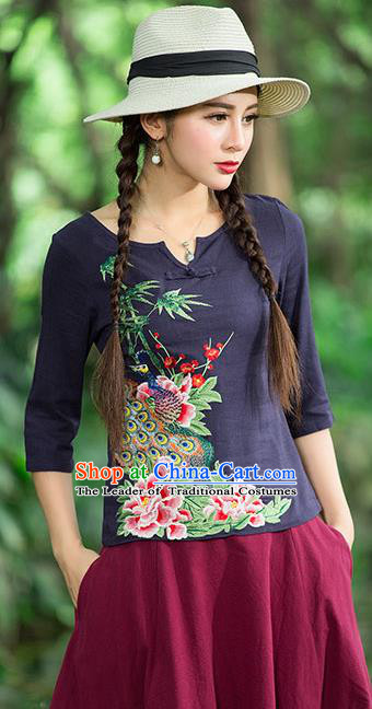 Traditional Ancient Chinese National Costume, Elegant Hanfu Embroidered Peacock Peony Shirt, China National Minority Tang Suit Navy Blouse Cheongsam Upper Outer Garment Clothing for Women