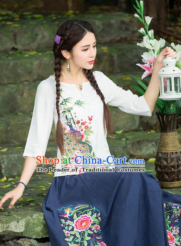 Traditional Ancient Chinese National Costume, Elegant Hanfu Embroidered Peacock Peony Shirt, China National Minority Tang Suit White Blouse Cheongsam Upper Outer Garment Clothing for Women