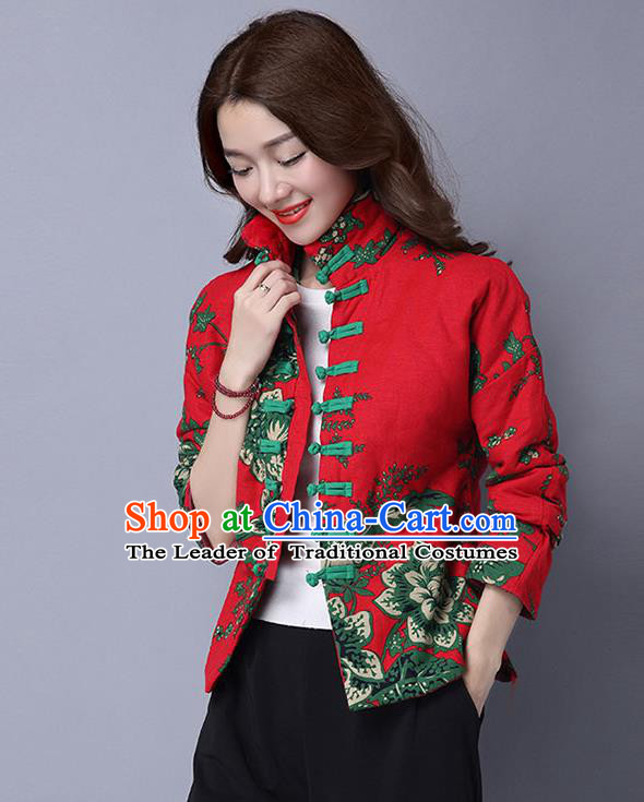 Traditional Ancient Chinese National Costume, Elegant Hanfu Coat, China Tang Suit Stand Collar Cotton-Padded Coat, Upper Outer Garment Embroidered Red Jacket Clothing for Women