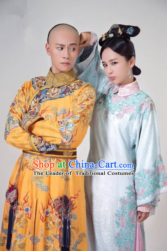 Traditional Ancient Chinese Imperial Emperor Costume, Chinese Qing Dynasty Manchu Palace Majesty Dress, Chinese Legend of Dragon Ball Mandarin King Dragon Robes, Ancient China Imperial Padishah Embroidered Clothing for Men