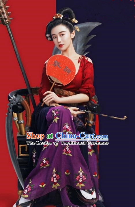 Traditional Ancient Chinese Imperial Consort Costume, Chinese Television Drama Detective Samoyeds Princess Elegant Hanfu Dress, Chinese Tang Dynasty Imperial Concubine Tailing Embroidered Clothing for Women