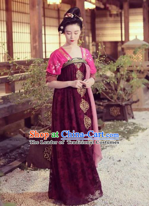 Traditional Ancient Chinese Imperial Consort Costume, Chinese Television Drama Detective Samoyeds Empress Elegant Hanfu Dress, Chinese Tang Dynasty Imperial Concubine Tailing Embroidered Clothing for Women