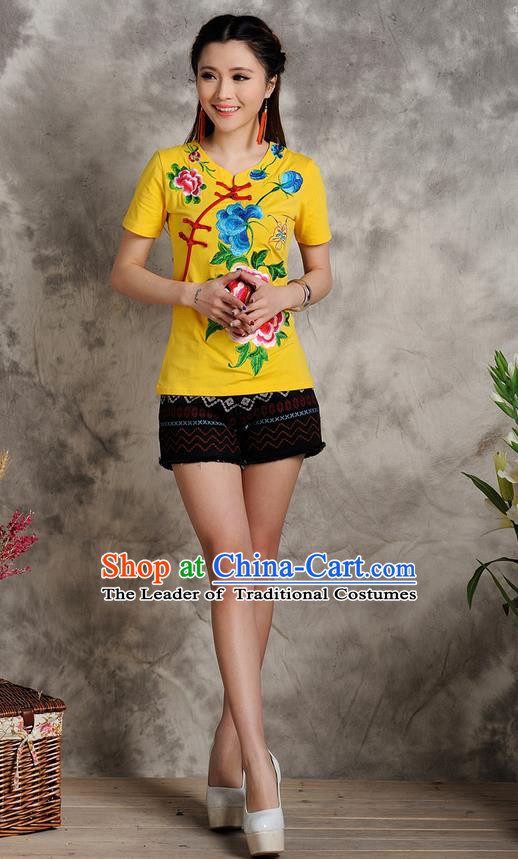Traditional Ancient Chinese National Costume, Elegant Hanfu Embroidered Peony T-Shirt, China Tang Suit Embroidered Yellow Blouse Cheongsam Upper Outer Garment Shirts Clothing for Women