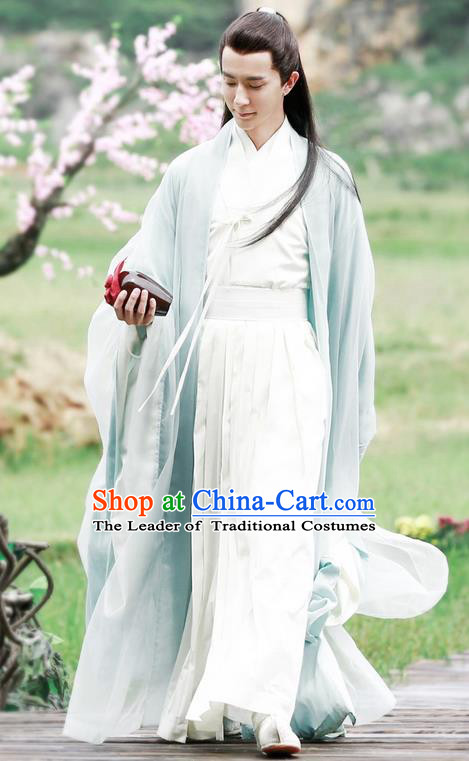 Traditional Ancient Chinese Elegant Swordsman Costume, Chinese Han Dynasty Male Prince Robe Dress, Cosplay Ten Great III of Peach Blossom Nobility Childe Chinese Dandies Hanfu Clothing for Men