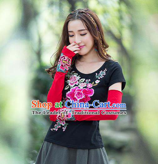 Traditional Chinese National Crafts Female Sun Protection Gloves, Handmade Embroidery Red Sun Protection Sleeve Accessories Hand Buff for Women