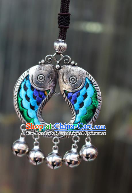 Traditional Chinese Miao Nationality Crafts Jewelry Accessory, Hmong Handmade Miao Silver Kiss Fish Bells Tassel Double Side Embroidery Flowers Pendant, Miao Ethnic Minority Bells Necklace Accessories Sweater Chain Pendant for Women