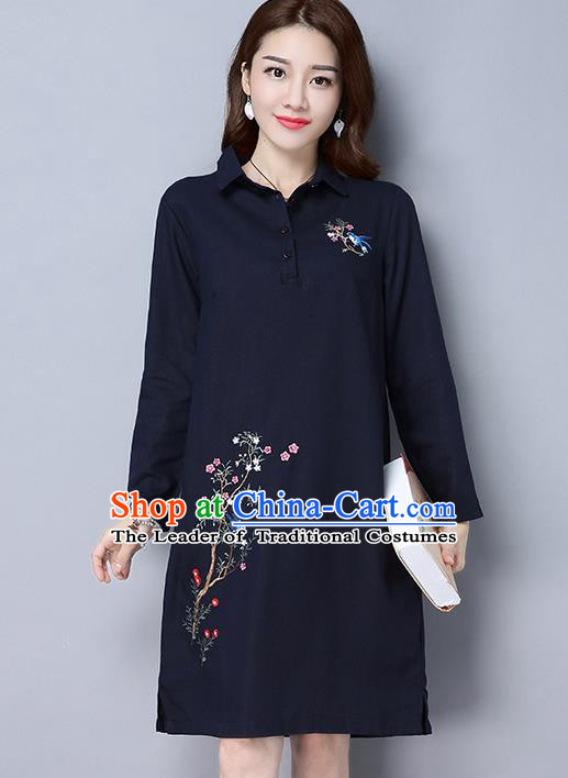 Traditional Ancient Chinese National Costume, Elegant Hanfu Hand Embroidered Dress, China Tang Suit Embroidered Cheongsam Upper Outer Garment Elegant Navy Dress Clothing for Women