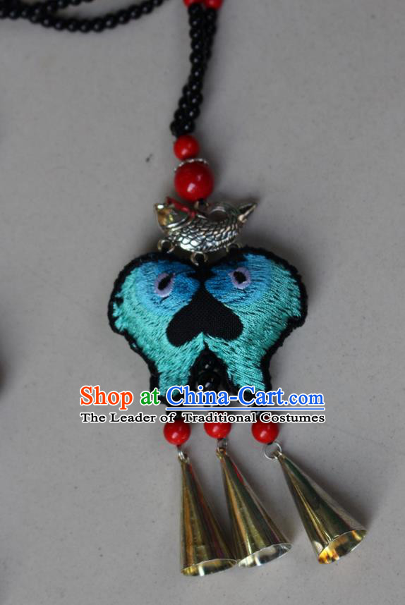 Traditional Chinese Miao Nationality Crafts Jewelry Accessory, Hmong Handmade Bells Tassel Double Side Embroidery Kiss Fish Pendant, Miao Ethnic Minority Bells Necklace Accessories Sweater Chain Pendant for Women
