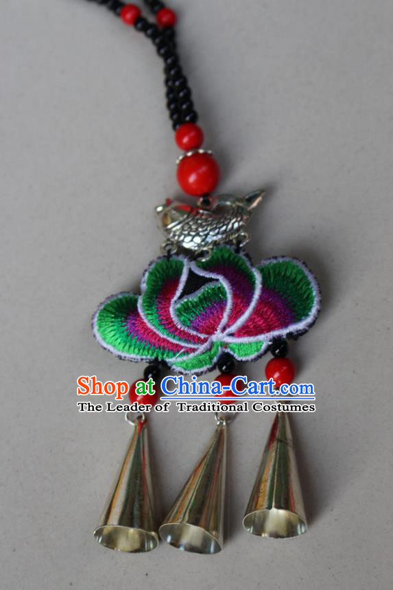 Traditional Chinese Miao Nationality Crafts Jewelry Accessory, Hmong Handmade Bells Tassel Double Side Embroidery Lotus Pendant, Miao Ethnic Minority Bells Necklace Accessories Sweater Chain Pendant for Women
