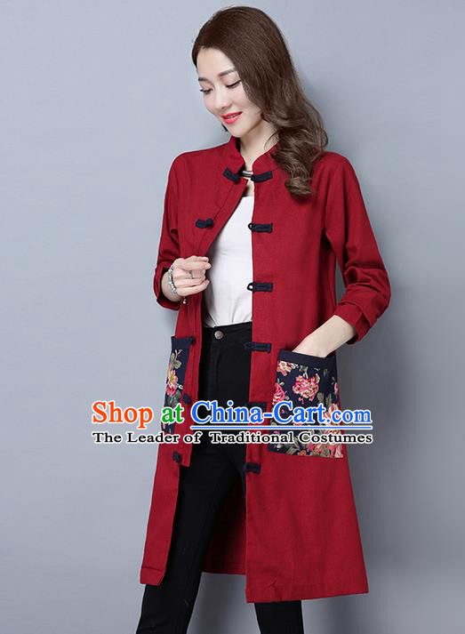 Traditional Ancient Chinese National Costume, Elegant Hanfu Long Coat, China Tang Suit Plated Buttons Coats, Upper Outer Garment Red Dust Coat Clothing for Women