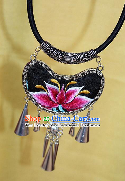 Traditional Chinese Miao Nationality Crafts Jewelry Accessory, Hmong Handmade Miao Silver Embroidery Bells Tassel Pendant, Miao Ethnic Minority Bells Necklace Accessories Sweater Chain Pendant for Women