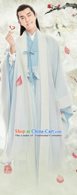 Traditional Ancient Chinese Elegant Swordsman Costume, Chinese Han Dynasty Prince Robe Dress, Cosplay Ten Great III of Peach Blossom Nobility Childe Chinese Dandies Hanfu Clothing for Men