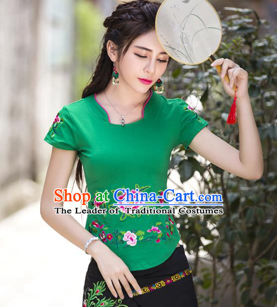 Traditional Ancient Chinese National Costume, Elegant Hanfu Embroidered Peony Flowers Mandarin Collar T-Shirt, China Tang Suit Green Blouse Cheongsam Qipao Shirts Clothing for Women