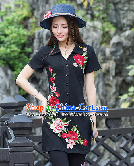 Traditional Ancient Chinese National Costume, Elegant Hanfu Embroidered Peony Flowers Black Long T-Shirt, China Tang Suit Blouse Cheongsam Qipao Shirts Clothing for Women