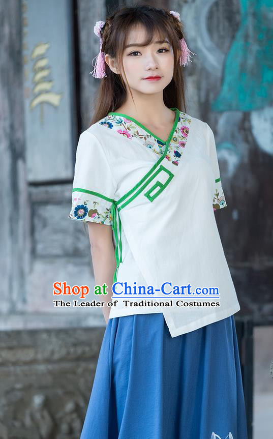Traditional Ancient Chinese National Costume, Elegant Hanfu Embroidered Slant Opening White Shirt, China Ming Dynasty Tang Suit Blouse Cheongsam Qipao Shirts Clothing for Women