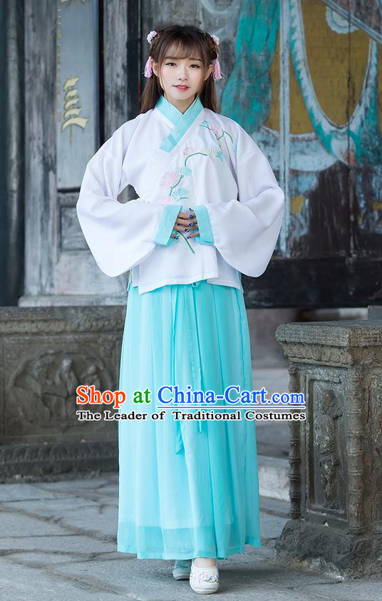 Traditional Chinese Ancient Costume, Elegant Hanfu Clothing Embroidered Wide Sleeve Blouse and Dress, China Ming Dynasty Elegant Blue Blouse and Skirt Complete Set for Women