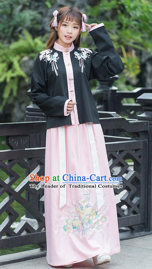 Traditional Ancient Chinese Costume, Elegant Hanfu Clothing Embroidered Birds Stand Collar Blouse and Dress, China Ming Dynasty Elegant Blouse and Ru Skirt Complete Set for Women