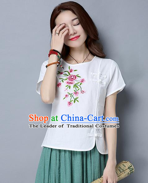 Traditional Chinese National Costume, Elegant Hanfu Embroidery Flowers Slant Opening White T-Shirt, China Tang Suit Republic of China Plated Buttons Blouse Cheongsam Upper Outer Garment Qipao Shirts Clothing for Women