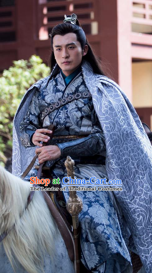 Traditional Ancient Chinese Elegant Swordsman Costume, Chinese Western Wei Dynasty Jiang Hu Swordsman Robe, Cosplay Prince Nobility Childe Chinese General Hanfu Clothing for Men