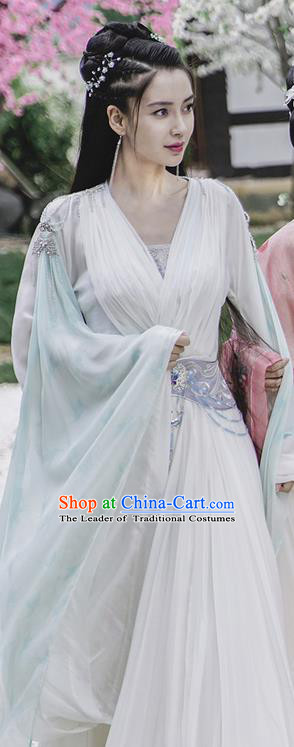 Traditional Ancient Chinese Elegant Female Swordsman Costume, Chinese Warring States Period Dynasty Fairy Robe, Cosplay Princess Chinese Nobility Hanfu Clothing for Women