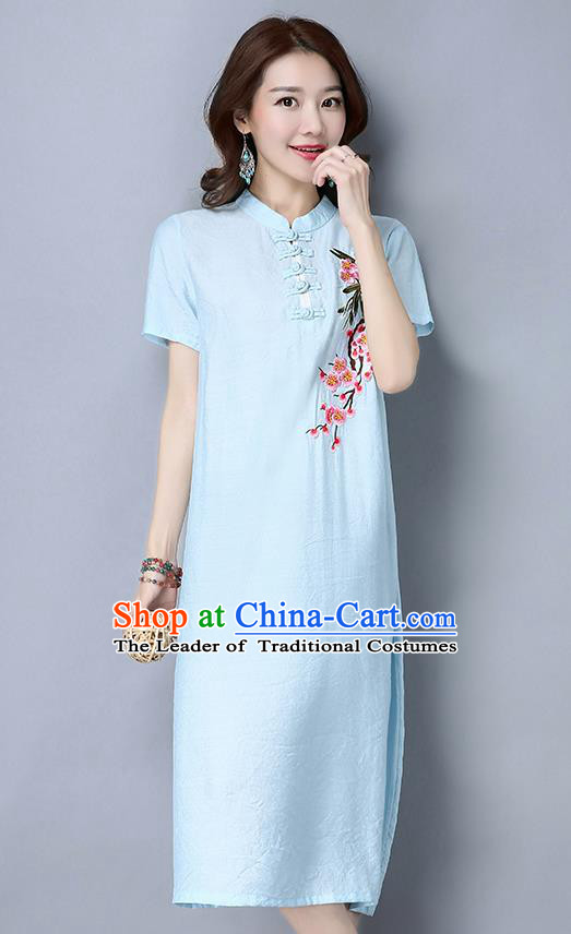 Traditional Ancient Chinese National Costume, Elegant Hanfu Mandarin Qipao Embroidered Peach Blossom Blue Dress, China Tang Suit Stand Collar Chirpaur Republic of China Cheongsam Upper Outer Garment Elegant Dress Clothing for Women