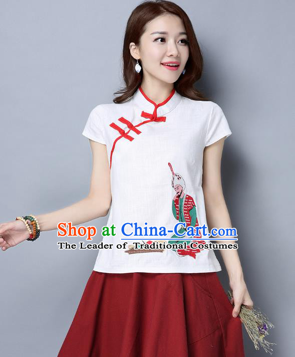 Traditional Chinese National Costume, Elegant Hanfu Embroidery Slant Opening Stand Collar T-Shirt, China Tang Suit Republic of China Plated Buttons Blouse Cheongsam Upper Outer Garment Qipao Shirts Clothing for Women