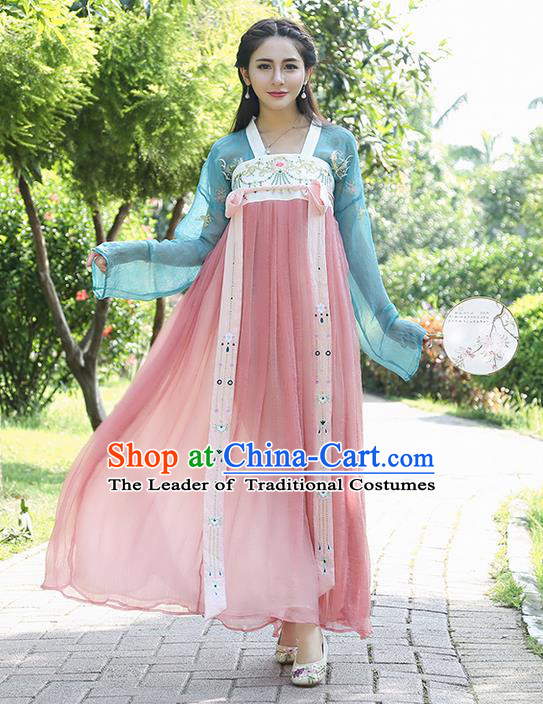 Traditional Ancient Chinese Costume, Elegant Hanfu Clothing Embroidered Blue Blouse and Dress, China Tang Dynasty Princess Elegant Blouse and Skirt Complete Set for Women