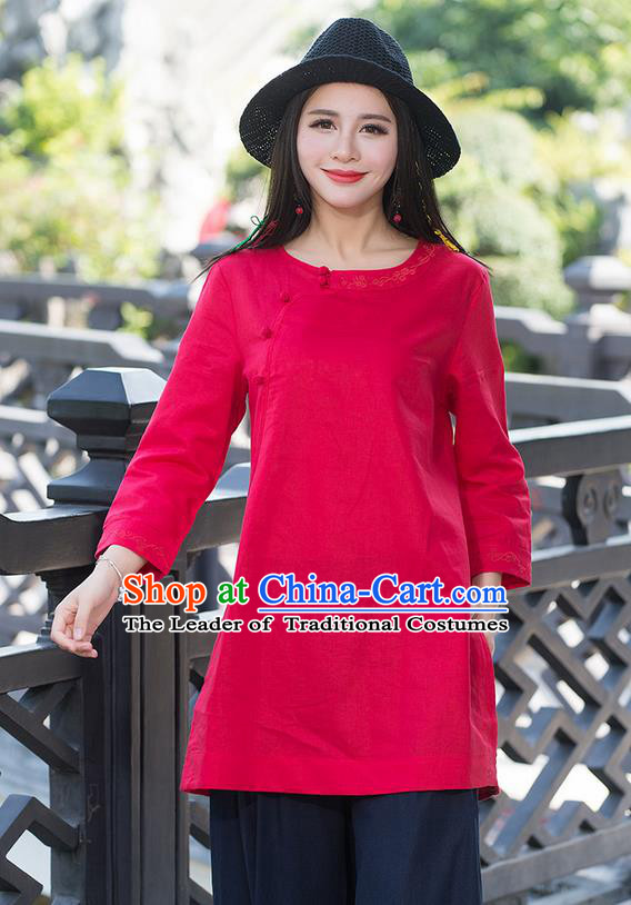 Traditional Chinese National Costume, Elegant Hanfu Embroidery Slant Opening Long Red Shirt, China Tang Suit Republic of China Plated Buttons Blouse Cheongsam Upper Outer Garment Qipao Shirts Clothing for Women