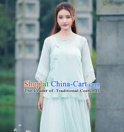 Traditional Chinese National Costume, Elegant Hanfu Slant Opening Blue T-Shirt, China Tang Suit Republic of China Plated Buttons Blouse Cheongsam Upper Outer Garment Qipao Shirts Clothing for Women