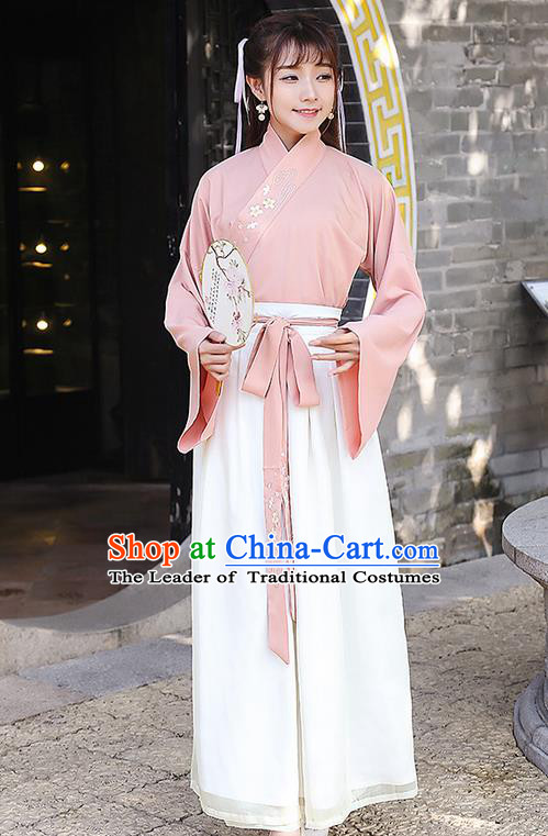 Traditional Ancient Chinese Costume, Elegant Hanfu Clothing Embroidered Slant Opening Blouse and Dress, China Han Dynasty Palace Lady Elegant Blouse and Skirt Complete Set for Women