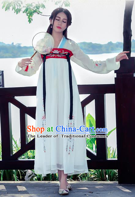 Traditional Ancient Chinese Costume, Elegant Hanfu Clothing Embroidered Wearing Silks Blouse and Dress, China Tang Dynasty Palace Lady Elegant Blouse and Skirt Complete Set for Women
