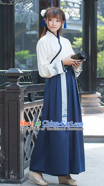 Traditional Ancient Chinese Costume, Elegant Hanfu Clothing Embroidered Slant Opening Blouse and Dress, China Han Dynasty Princess Elegant Blouse and Red Blue Skirt Complete Set for Women