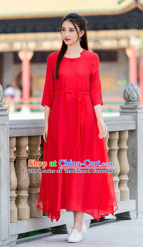 Traditional Ancient Chinese National Costume, Elegant Hanfu Mandarin Qipao Linen Red Dress, China Tang Suit Chirpaur Republic of China Cheongsam Upper Outer Garment Elegant Dress Clothing for Women