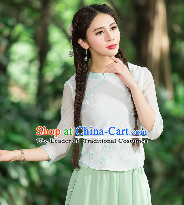 Traditional Chinese National Costume, Elegant Hanfu Embroidery Flowers Slant Opening Organza Shirt, China Tang Suit Republic of China Blouse Cheongsam Upper Outer Garment Qipao Shirts Clothing for Women