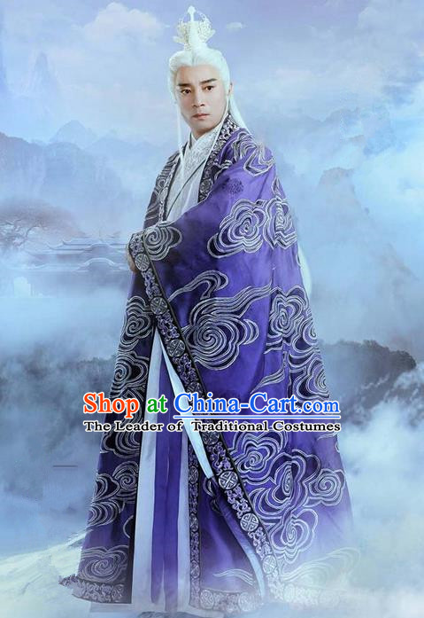 Traditional Ancient Chinese Elegant Swordsman Costume, Chinese Han Dynasty Taoist Priest Robes Kung fu Master Dress, Cosplay Chinese Television Drama Jade Dynasty Qing Yun Faction Owners Hanfu Embroidery Clothing for Men