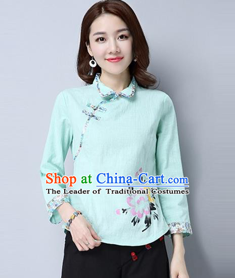 Traditional Chinese National Costume, Elegant Hanfu Painting Peony Flowers Slant Opening Green Shirt, China Tang Suit Republic of China Plated Buttons Blouse Cheongsam Upper Outer Garment Qipao Shirts Clothing for Women