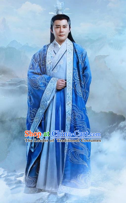 Traditional Ancient Chinese Elegant Swordsman Costume, Chinese Han Dynasty Taoist Priest Dress, Cosplay Chinese Television Drama Jade Dynasty Qing Yun Faction Elders of the Owners Hanfu Embroidery Clothing for Men