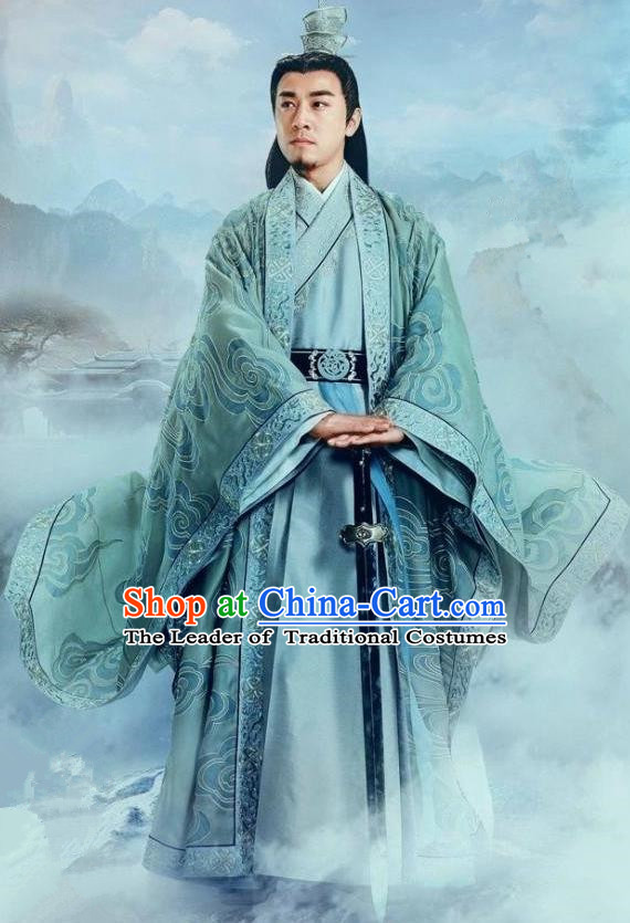 Traditional Ancient Chinese Elegant Swordsman Costume, Chinese Jiang hu Taoist Priest Dress, Cosplay Chinese Television Drama Jade Dynasty Qing Yun Faction Elders of the Owners Hanfu Embroidery Clothing for Men