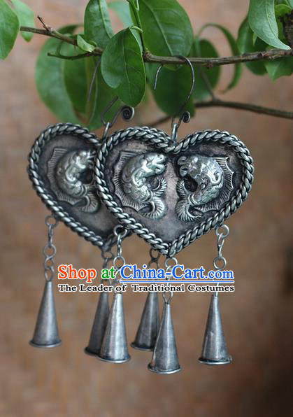 Traditional Chinese Miao Nationality Crafts Jewelry Accessory Classical Earbob Accessories, Hmong Handmade Miao Silver Double Fish Heart-shaped Palace Lady Earrings, Miao Ethnic Minority Bells Eardrop for Women