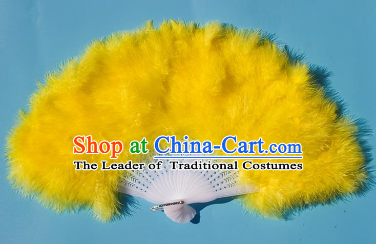 Traditional Handmade Chinese Classical Feather Fans, China Folk Dance Fan Dance Stage Performance Yellow Fan for Women