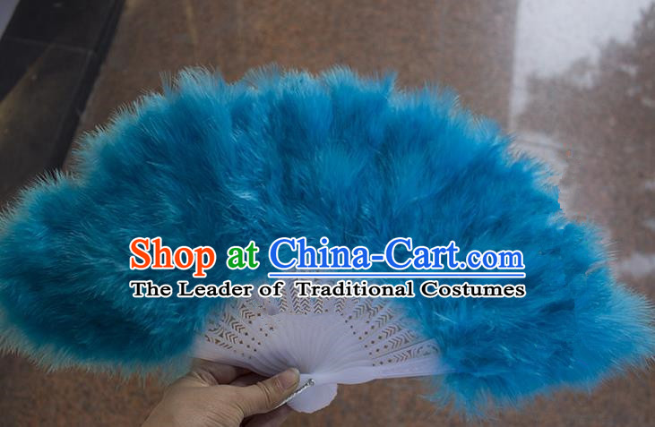 Traditional Handmade Chinese Classical Feather Fans, China Folk Dance Fan Dance Stage Performance Blue Fan for Women