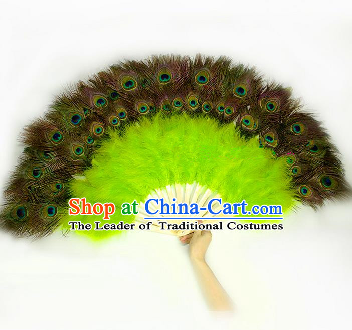 Traditional Handmade Chinese Classical Peacock Feather Fans, China Folk Dance Fan Dance Stage Performance Large Size Green Fan for Women