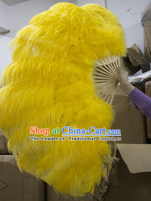 Traditional Handmade Chinese Classical Ostrich Feather Fans, China Folk Dance Fan Dance Stage Performance Large Size Yellow Fan for Women