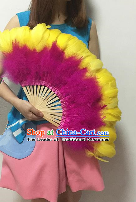 Traditional Handmade Chinese Classical Feather Fans, China Folk Dance Fan Dance Stage Performance Large Size Fan for Women