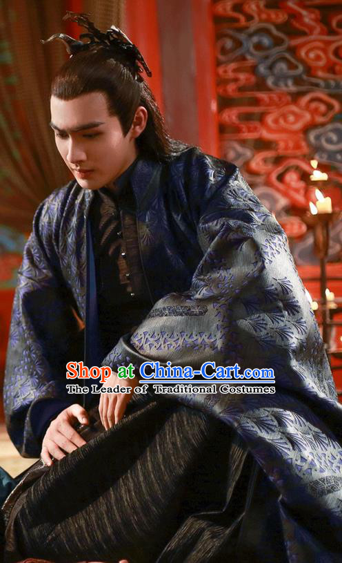 Traditional Ancient Chinese Nobility Childe Costume, Elegant Hanfu Male Lordling Dress, Cosplay Inferno Emperor Clothing, China Imperial Prince Embroidered Black Clothing for Men