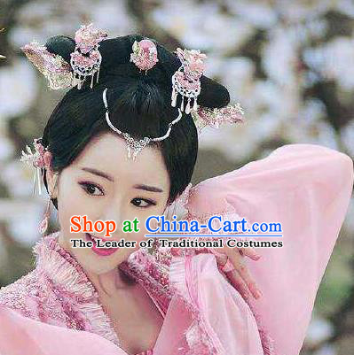 Traditional Handmade Chinese Ancient Classical Hair Accessories Complete Set, Han Dynasty Barrettes Hairpin, Hanfu Hair Sticks Hair Jewellery, Hair Fascinators Hairpins and Earrings for Women