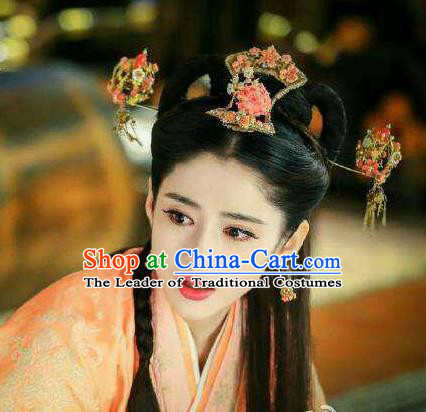 Traditional Handmade Chinese Ancient Classical Hair Accessories Complete Set, Han Dynasty Barrettes Imperial Consort Hairpin, Hanfu Imperial Princess Hair Sticks Hair Jewellery, Hair Fascinators Hairpins and Earrings for Women