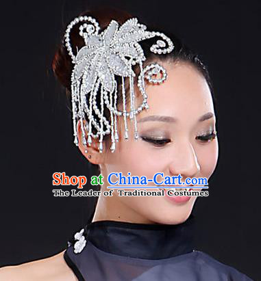 Traditional Handmade Chinese Yangge Fan Dancing Classical Hair Accessories, Folk Dance Yangko Peacock Dance Tassel Headwear For Women